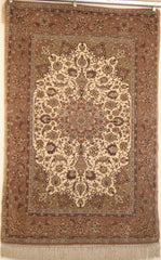 Persian Isfahan Hand-knotted Rug Wool and Silk on Cotton (ID 218)