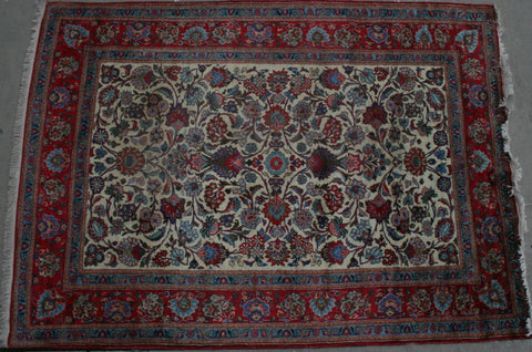Persian Kashan Hand-knotted Rug Wool on Cotton (ID 1149)