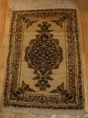 Indian Kashmir Hand-knotted Rug Silk on Silk (ID 1090)