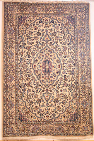 Persian Naein Hand-knotted Rug Wool and Silk on Cotton (ID 269)