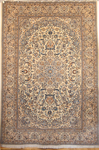 Persian Naein Hand-knotted Rug Wool and Silk on Cotton (ID 1042)