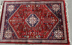 Persian Qashqai Hand-knotted Rug Wool on Cotton (ID 1156)