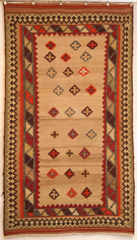 Persian Qashqai Hand-knotted Kilim Wool on cotton (ID 251)