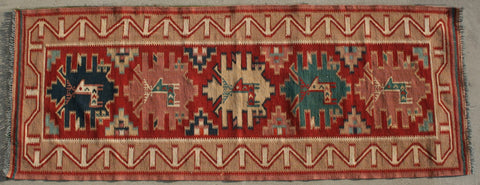 Persian Qashqai Hand-knotted Runner Wool on Cotton (ID 34)