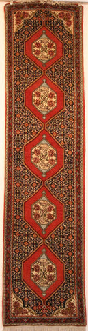 Persian Sanneh Hand-knotted Runner Wool on Cotton (ID 34a)