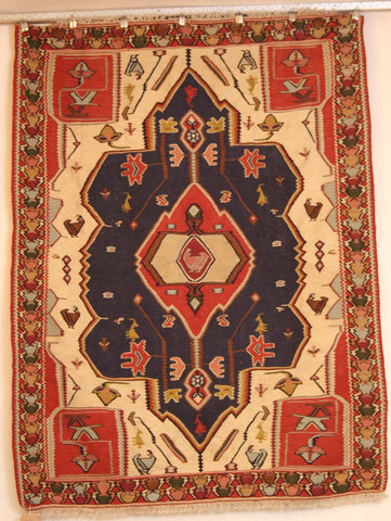 Persian Shiraz Hand-knotted Kilim Wool on Wool (ID 1014)