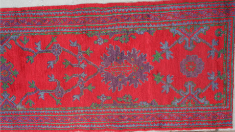 Turkish Ushak Hand-knotted Runner Wool on Wool (ID 1258)