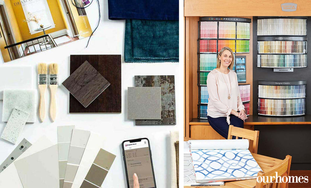 paint samples, textiles, brushes, and cabinet colour samples spread on top of white table | Katherine Dykstra Designer sitting on wooden ledge in front of paint samples and wallpaper booklet