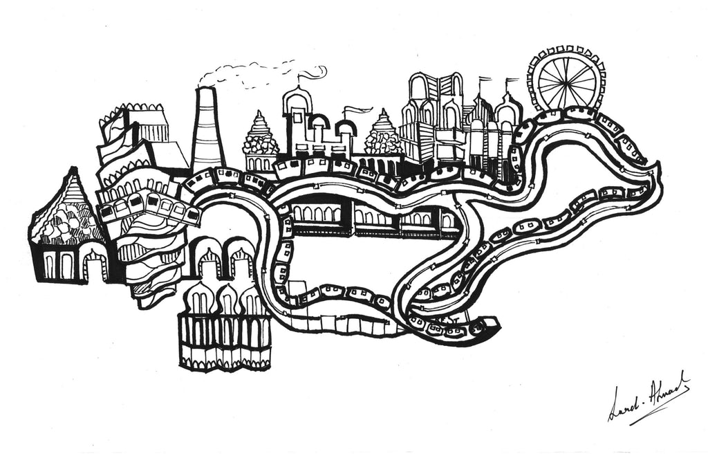Rollercoaster and the city - Surmrit Gallery of Art & Design