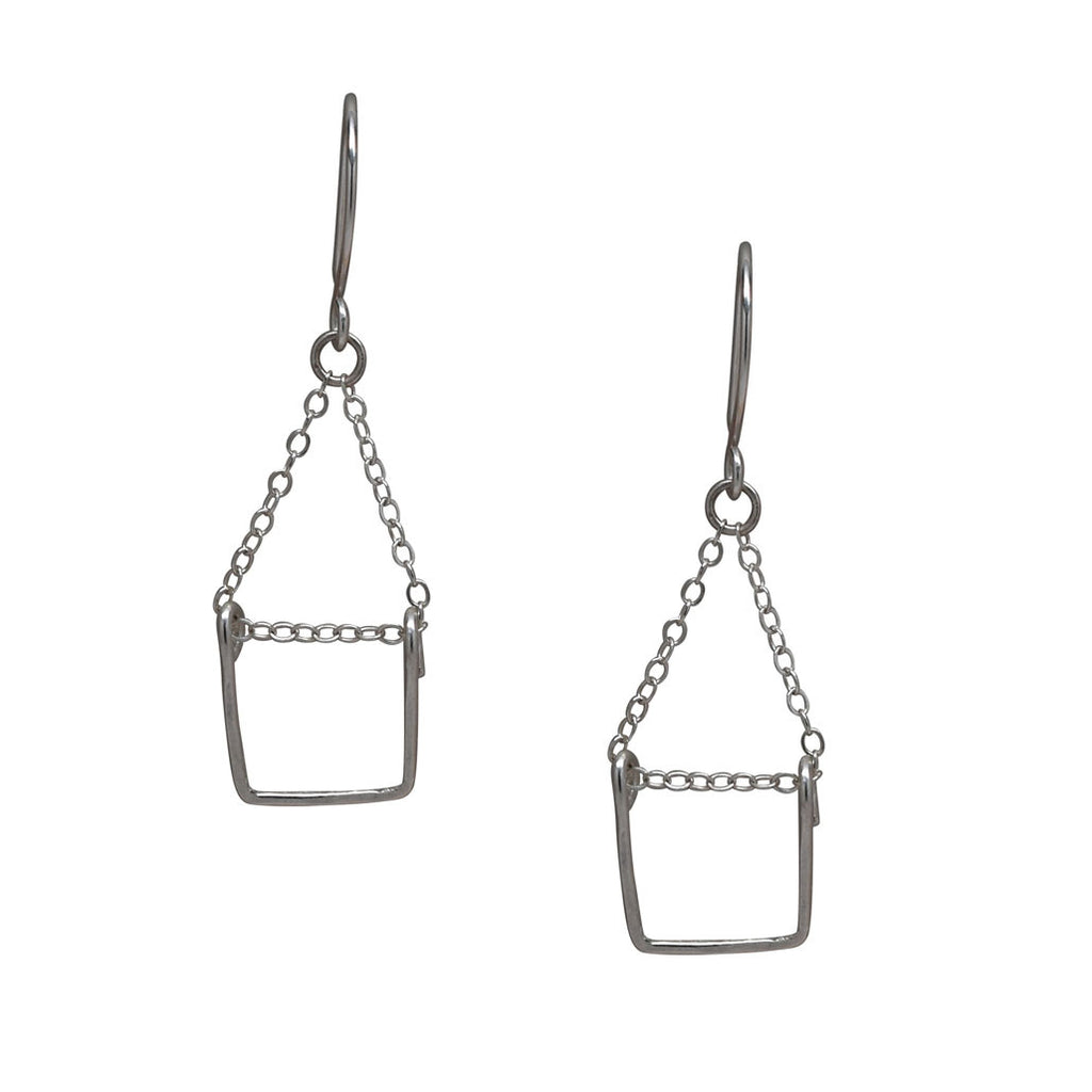 tiny rectangle dangler earring