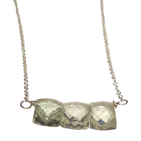 green amethyst faceted rectangle necklace