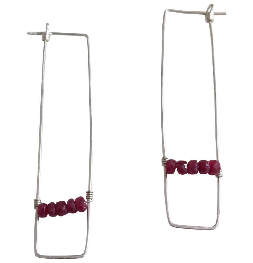 rectangles and rubies earrings