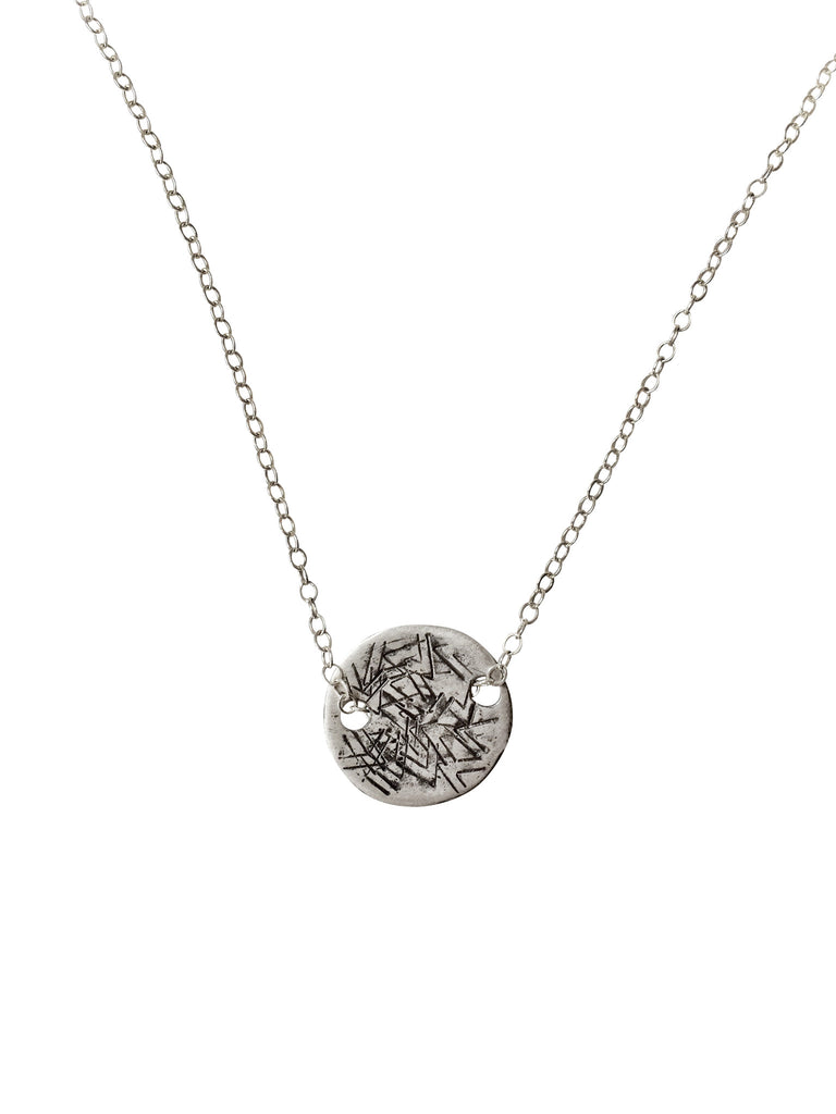 Textured disc necklace