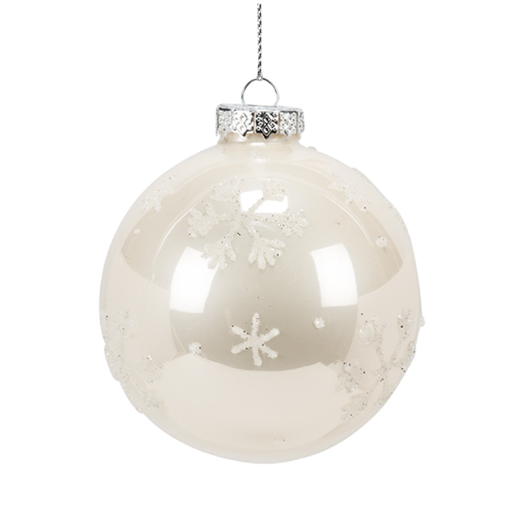 assorted champagne glass snowflake ball ornaments