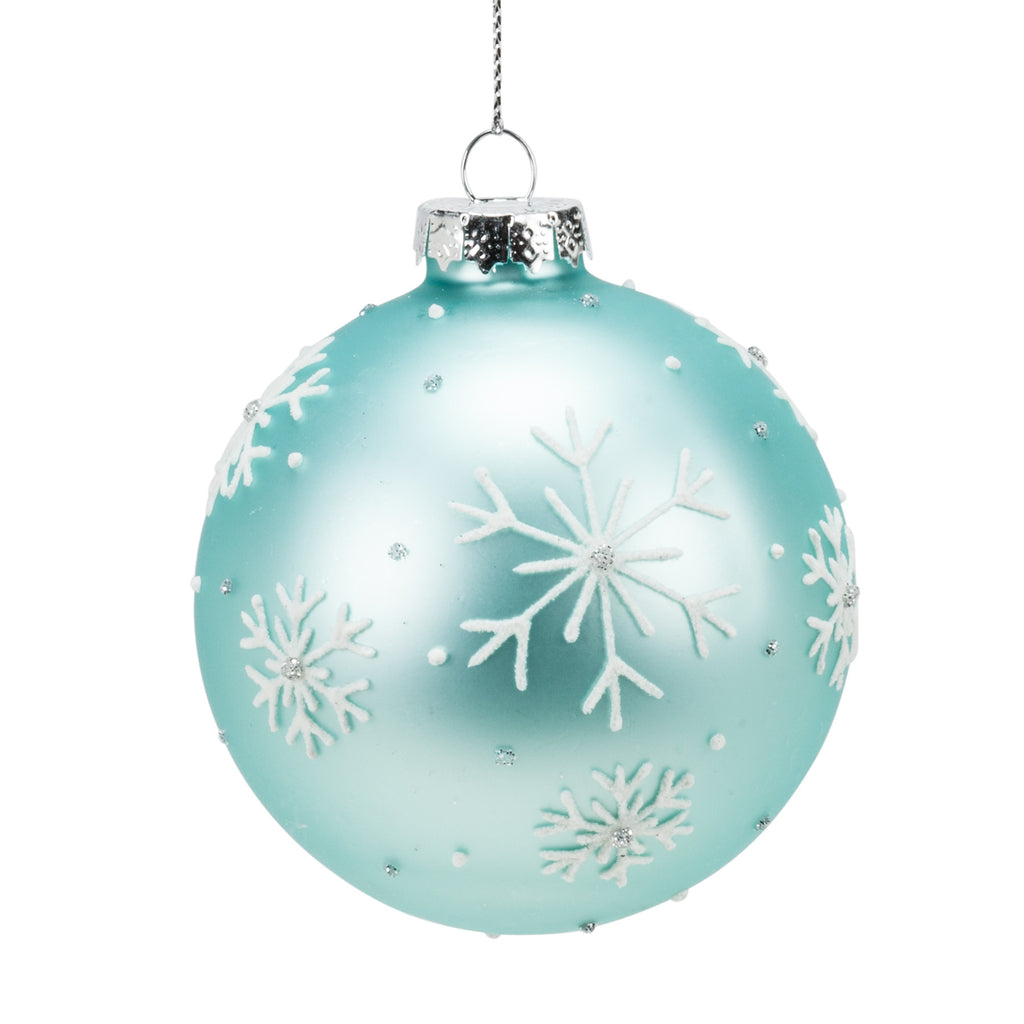 Set of assorted glass snowflake ball ornaments