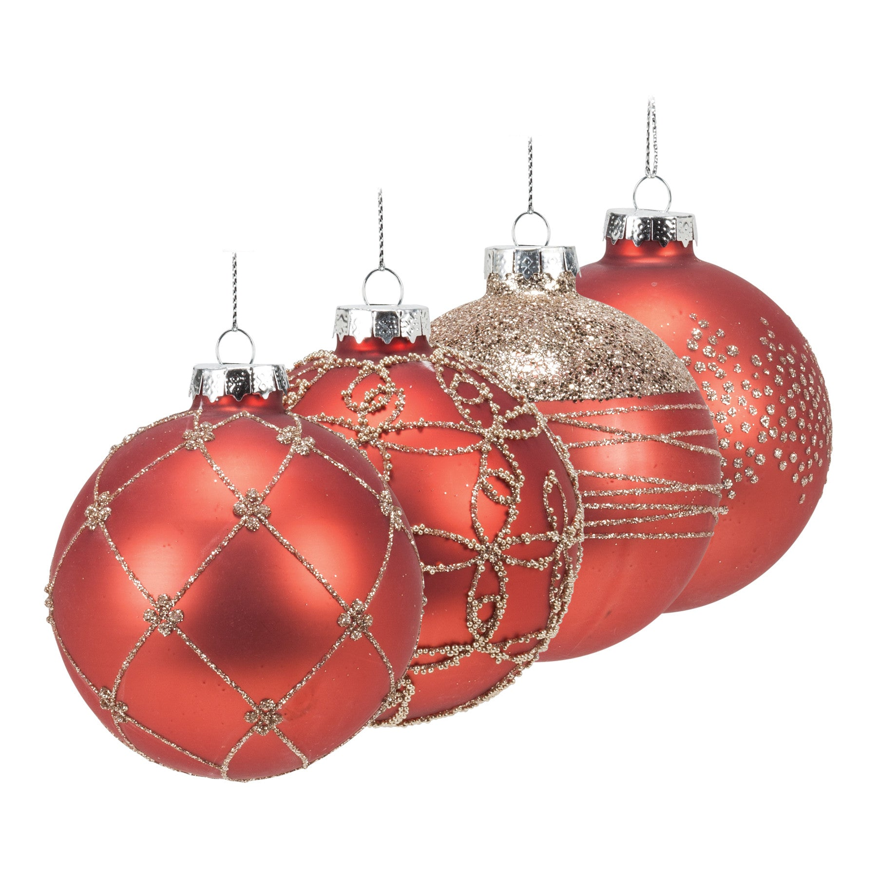 Set Of 4 Assorted Red Fancy Ball Ornament With Glitter