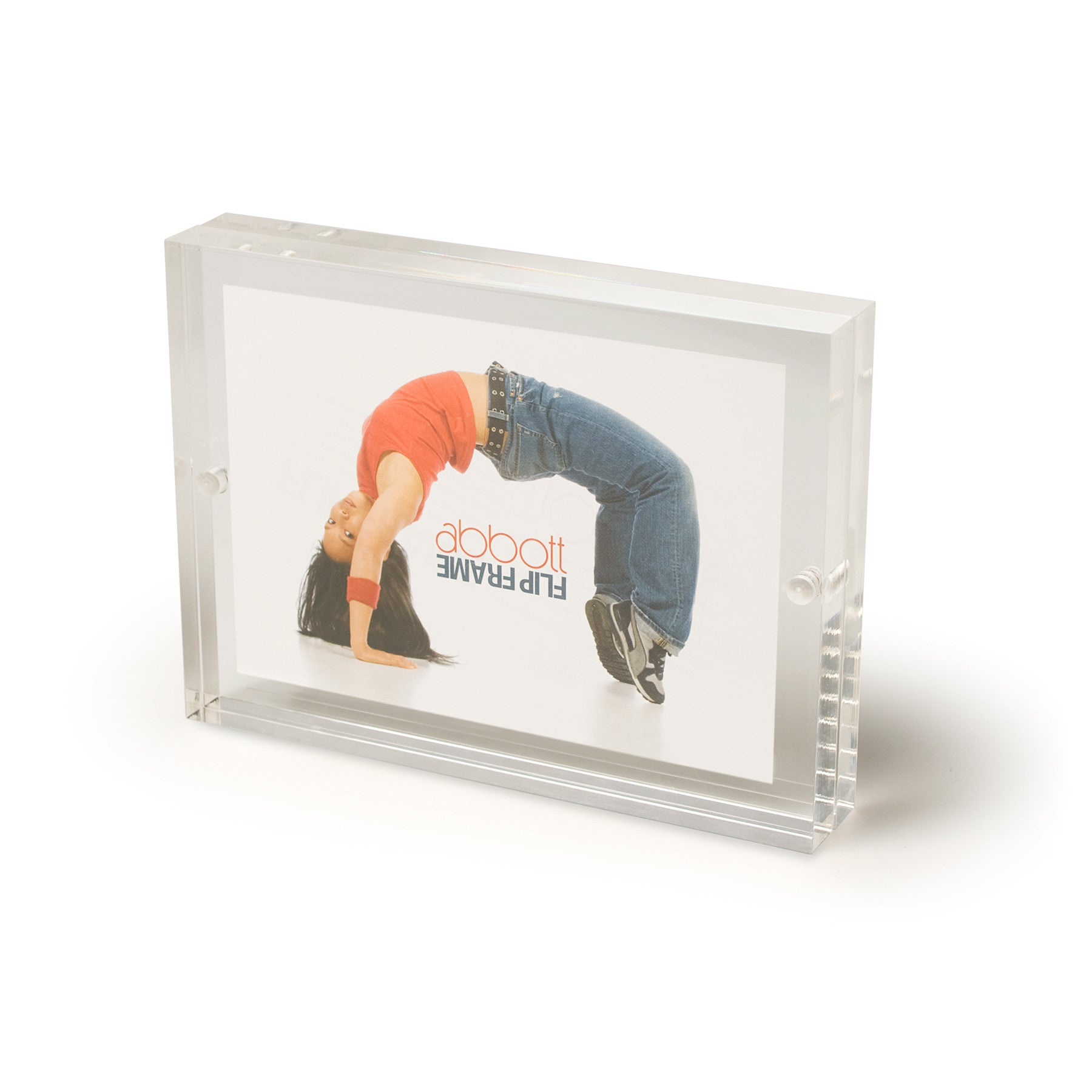 acrylic 3 x 5 double sided block picture frame