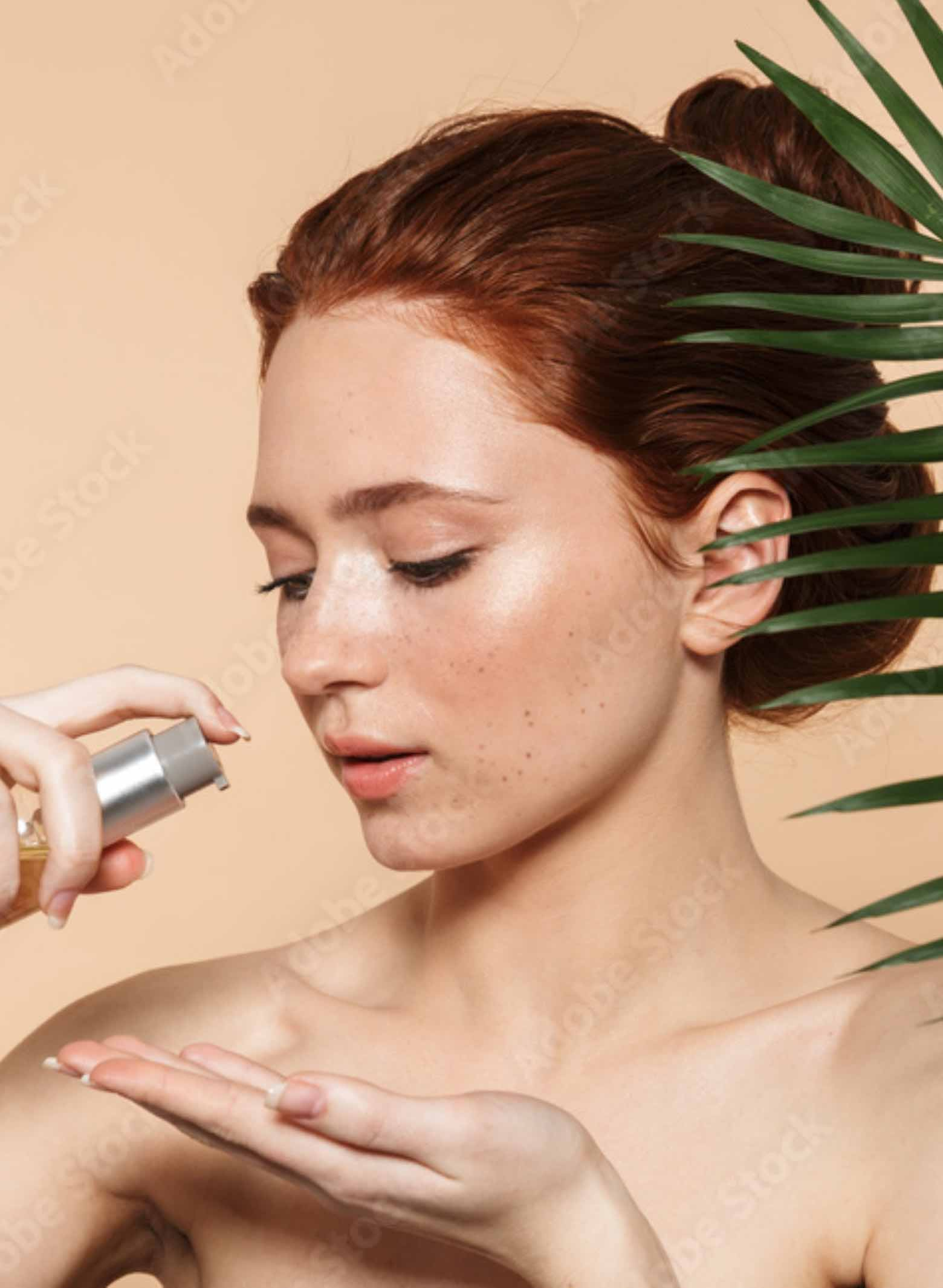 natural skin cosmetic woman holding cleansing oil