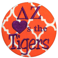 Orange & Purple Tigers - Orange Quatrefoil