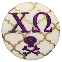 Purple & Gold Pirates - Gold Quatrefoil skull