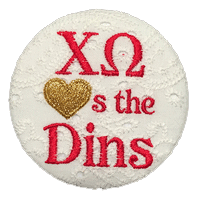Red & Gold Dins Custom - Chi Omega