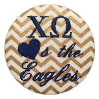 Blue & White Eagles - Metallic Gold Chevron