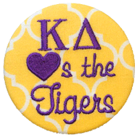 Purple & Gold Tigers - Yellow Quatrefoil