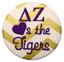 Purple & Gold Tigers - Large Metallic Gold Chevron