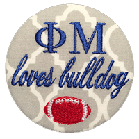 Red & Blue Bulldogs - Grey Quatrefoil football