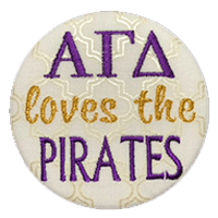 Purple & Gold Pirates - White Pearlescent Cursive