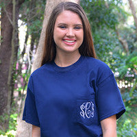 Monogrammed Pocket Tee - Navy, Light Pink, Light Blue