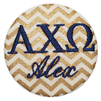Sorority Recruitment Name Tag - Gold Chevron