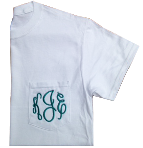 Monogrammed Pocket Tee - White & Charcoal