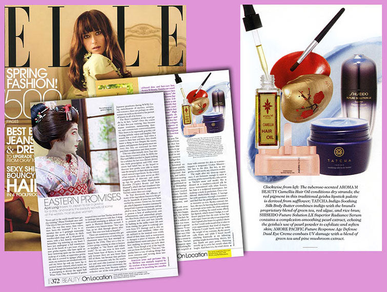 Tear sheeta of Elle featuring aromam fragrance in April Longs article Eastern Promises