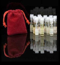 eight aromam perfume samples in small bottles