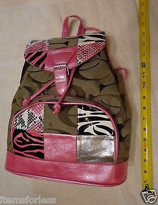 Cleto Womens Patchwork BACKPACK Handbag PINK BROWN White Black Silver Brand New - Itemsforless