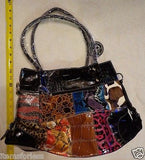 Womens Animal print Satchel Hand Bag Brown Black Blue PINK Patchwork New -  ITEMSFORLESS        - 2