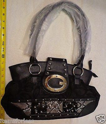 Womens G Style Satchel Hand Bag BLACK Grey Gold New Animal Print patch -  ITEMSFORLESS        - 1