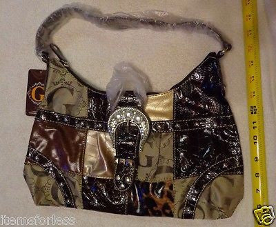 Womens G Style Satchel Hand Bag BROWN Black TAN Beige New Animal Print patch