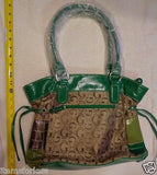 Womens G Style Satchel Hand Bag BROWN Green TAN Silver New Animal Print patch -  ITEMSFORLESS        - 2