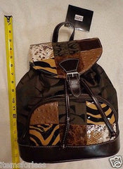 Cleto Womens Patchwork BACKPACK Handbag BROWN Tan White Black Brand New - Itemsforless