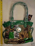 Womens G Style Satchel Hand Bag BROWN Green TAN Silver New Animal Print patch -  ITEMSFORLESS        - 1
