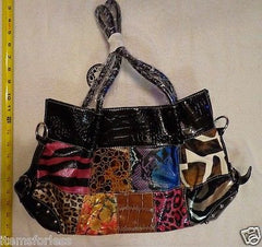 Womens Animal print Satchel Hand Bag Brown Black Blue PINK Patchwork New -  ITEMSFORLESS        - 1