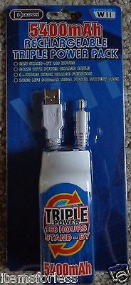 Wii Controller Battery 5400mah USB Charged New -  ITEMSFORLESS        - 1