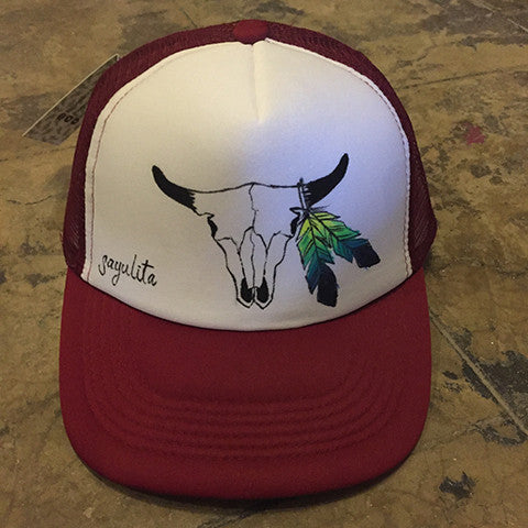 Cattle Skull Trucker Hat Painted