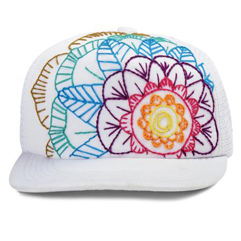 Floral Embroidered Mandala Trucker Hats