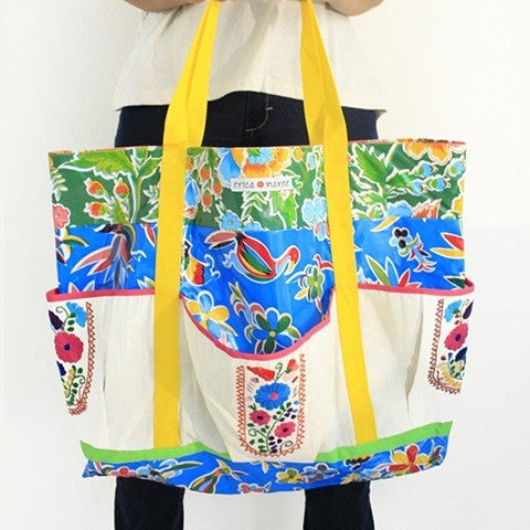Mexican Beach Bag in Oilclotch with Embroidery Playa Grande