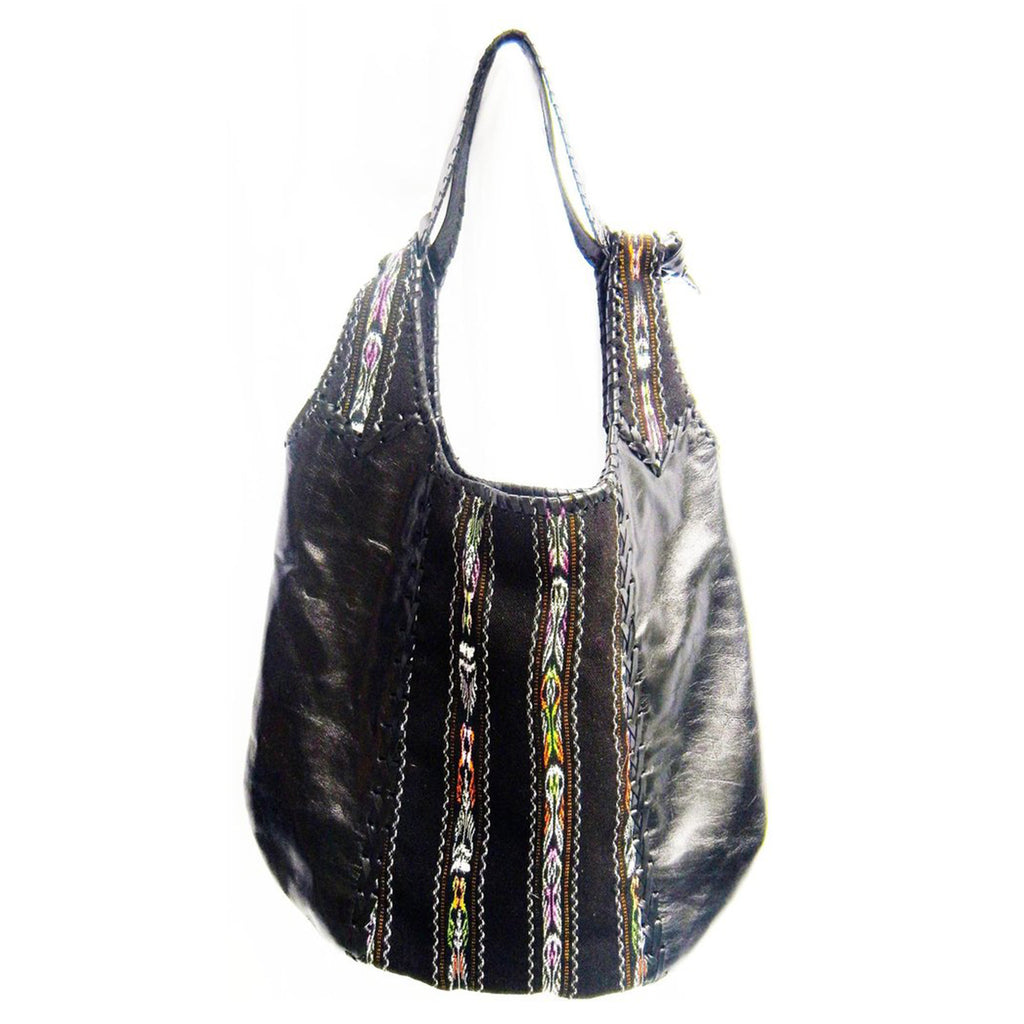 Mexican Embellished Leather Purse Black