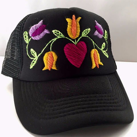 Petunia Embroidered Hat