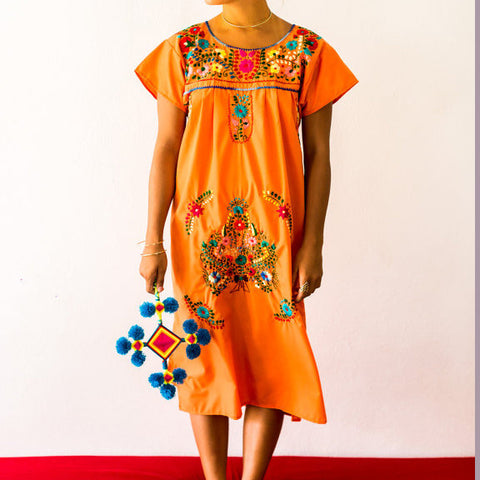 Mexico Embroidered Dress Orange